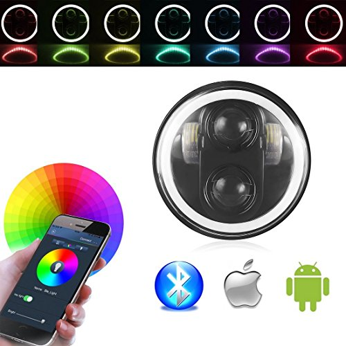 "5.75 ""RGB Halo Scheinwerfer, Motorrad 5-3 / 4"" LED Scheinwerfer mit Engel Eye RGB Halo Ring Bluetooth Telefon APP kontrolliert für Harley Davidson Dyna"