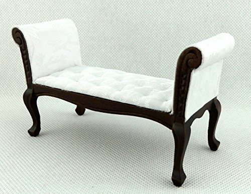 Melody Jane Dolls Houses Mahagoni Weiß Long John Bett End Hocker Sitzbank Miniatur-möbel