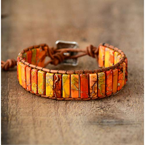 WODESHENGRI Armbänder,Unisex Böhmischen Armbänder Tube Natürliche Stonse Ledergriffband Armband Perlen Paare Armband Bestfriend Geschenke Armband (Billig Für Paare Easy-kostüme)