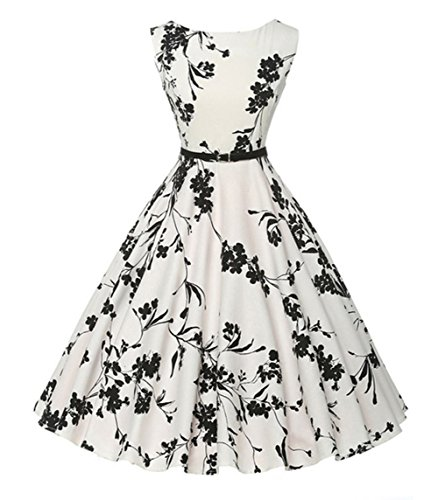 Rocke Boatneck ärmelloses Vintage Rockabilly Floral Swing Kleid Damen (Farbe : White, Size : XL) -