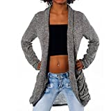 H232 Damen Longshirt Strick Cardigan Jacke Strickjacke Kleid Bluse Lang, Farben:Steingrau;Größen:Einheitsgröße