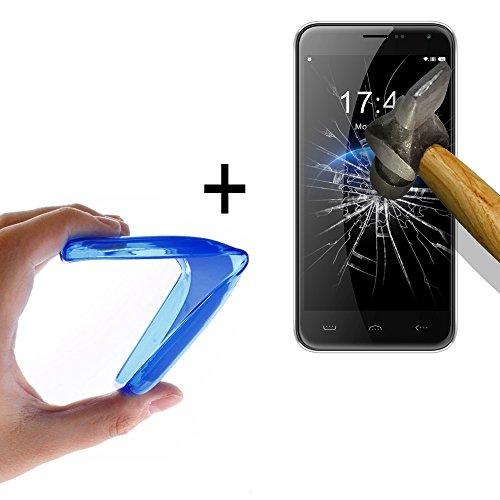 WoowCase - Flexible Gel Schutzhülle für [ HomTom HT3] [ +1 Schutzglas ] Hartglas, Hülle Case TPU Silikon in Blau