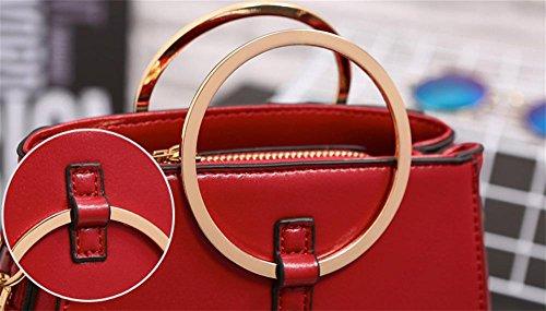 YANX signora Fashion PU borsa delle signore Borsa a tracolla Tote (17 * 16 * 9,5 centimetri) , rose red Pink