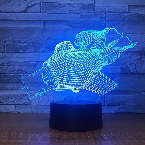 Qliyt Das U-Boot Shape 3D Led Nachtlicht 7 Colar Ändern Touch-Schalter Für Wohnkultur Usb Tischlampe- Touch-Schalter