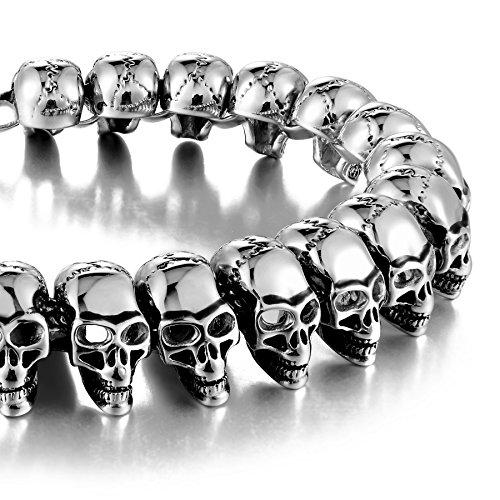 Urban-Jewelry Pulsera Gótica de Acero Inoxidable 316L con Cabeza de Calavera para Hombre