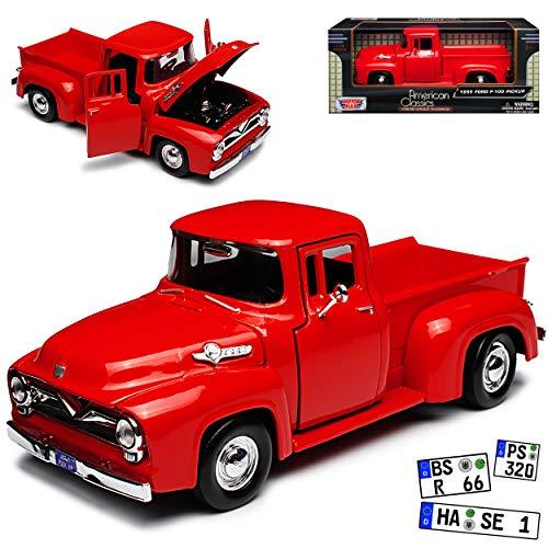Motormax Ford F-100 Pickup Rot 2. Generation 1953-1956 1/24 Modell Auto