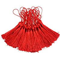 makhry 100pcs 13cm/5pulgadas hilo sedoso marcapáginas con borlas con cable (Loop y pequeño chino nudo para fabricación de joyería, Souvenir, marcadores, DIY Craft accesorios