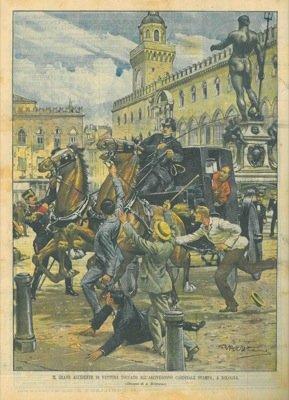 A Bologna il Maggiore dei Bersaglieri Amadei trattiene i cavalli imbizzarriti della carrozza dell'Arcivescovo Cardinale Svampa.