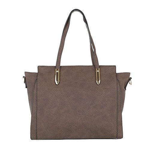iTal-dEsiGn Damentasche Mittelgroße Schultertasche Handtasche Used Optik Kunstleder TA-G0081 Braun