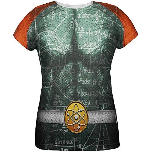 Old Glory Halloween Math Geek Wissenschaftler Superhero Kostüm alle über Womens T-Shirt Multi ()