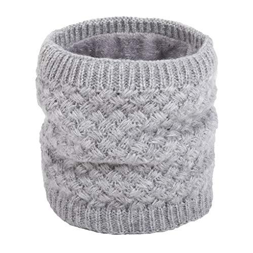 Bodbii Paare Winter warme Strickringschleife Schals Dickes Fleece Innen Elastic Strick Mufflers Kinderhalswärmer (Damen Winter Unendlichkeit Schal)