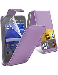 Excellent Value Samsung Note 4 rple synthétique de flip Wallet couverture synthétique Étui en cuir avec deux emplacements de carte pour Samsung Note 4