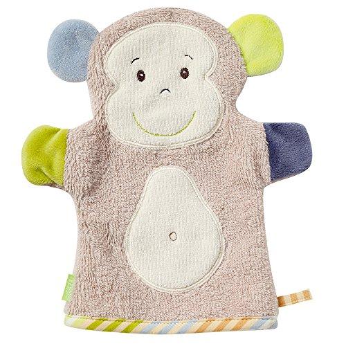 Fehn 081480 Waschhandschuh Affe - Waschlappen mit Tiermotiv für fröhlichen Badespaß, für Babys und Kinder ab 0+ Monaten (Dusche Junge Ideen)