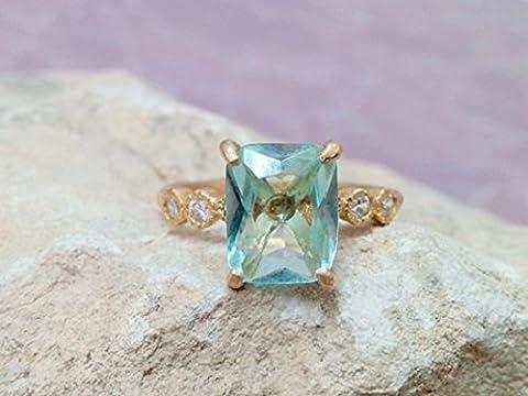 Aquamarine ring,diamond ring,prong setting ring,14k gold plated ring,gemstone ring,wedding ring,march