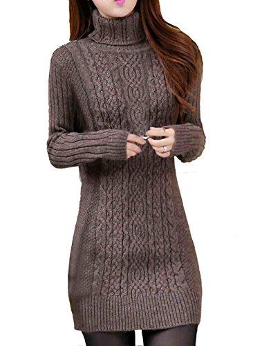 Cheerlife Damen Winter Strickkleid Rollkragen Pullover dehnbar Kleid Langarm Strickpullover Feinstrick Kleid XL Kaffeebraun