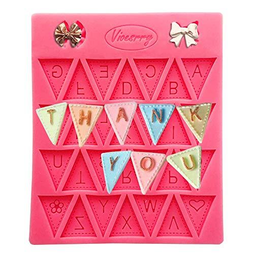 Baking Mold Home Bunting Alphabet Letter Flag Silikon Dekorieren Schokoladenkuchenform Fondant Backen - Rot 4