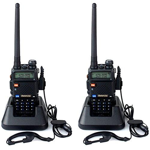 Retevis RT-5R Funkgeräte UHF / VHF dualband 128 Kanäle mit Headset FM Radio LCD Display(1 Paar, schwarz)
