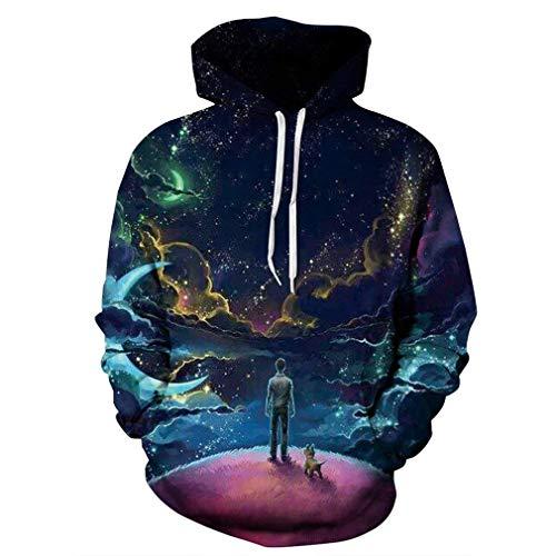 Bunte Wolken Himmel Hoodies Nner Männer Sweatshirts 3D Frauen Drucken Mensch Und Jungen Hund Sweatshirts Tops (Color : 92, Size : 2XL)