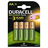 Duracell Recharge Plus Piles Rechargeables type AA 1300mAh, Lot de 4