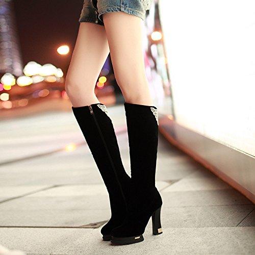 KHSKX-Autunno High Heeled Canna Lunga Glassati Scarpe Scarpe Da Donna Signore Di Stivali Stivali Invernali Le Calzature E Stivali black