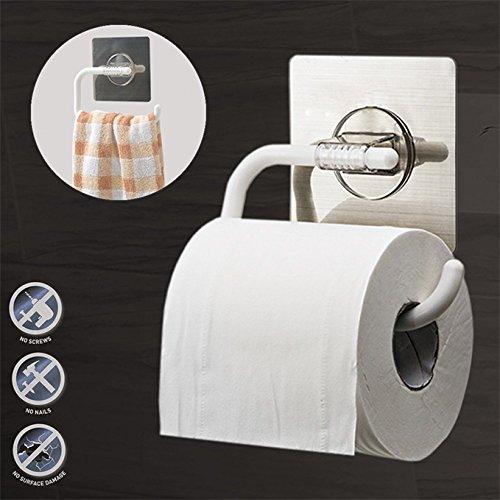 Toilet Wall Paper Holder autocollant montés sur le mur Salle de Bain facile, support de rouleau papier de soie/Porte-Serviettes Crochet de suspension à haften