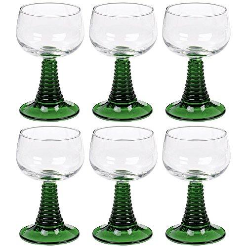 Arcoroc 01382 Weinrömer Römerglas mit grünem Fuß, 270ml, grün/klar (6 Stück)