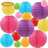 LURICO Lanterne di carta, 16 confezioni cinese rotonda lanterna di carta da appendere, con diversi colori e dimensioni per compleanno da sposa Baby Shower festival party decorazioni