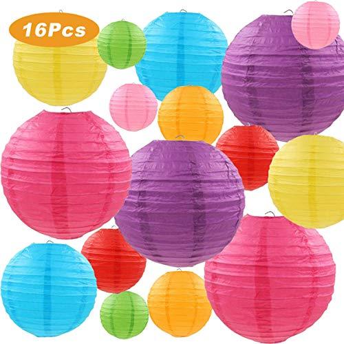 Papierlaterne, LURICO 16 Stück Papier Lampions Schöne Hochzeit Deko Papierlampe rund Papier Laterne Lampenschirm Garten Party Dekoration Ballform - Verschiedene Farben