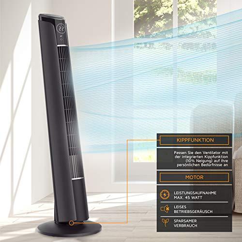 Brandson - Turmventilator mit Fernbedienung 108 cm | Ventilator 10° neigbar | Standventilator mit Oszilation | 65° oszillierend | 3 Geschwindigkeiten + 4 Lüftungs-Modi + Timer | GS | Cool Grey