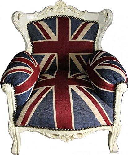 Barock Sessel Creme - Union Jack - Thron England Englische Flagge Tron