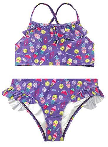 iteiliger Bikini Bunt Süß Blummendruck Romantisch Tankini Bademode Klein Volant Hose Sommer Badebekleidung (12-14 Years, Violett) ()
