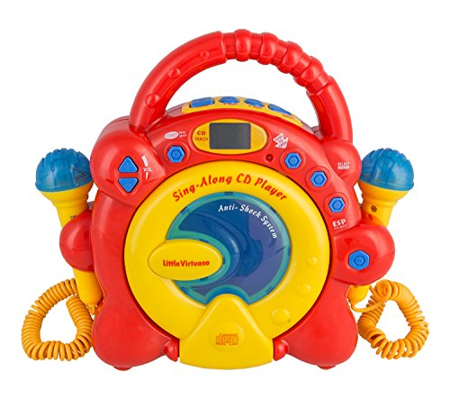 Idena Lecteur CD Sing Along, avec Deux Microphones et écran LED Rouge/Jaune