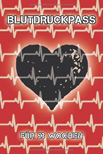 Blutdruckpass für 53 Wochen: kompaktes, kleines Notizbuch (ca. A6) für deine Blutdruckwerte für 1 Jahr (53 Wochen) I 1 Woche auf 2 Seiten
