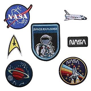 Set von 7Aufbüglern/Aufnähern zum Aufbügeln, gestickter Astronaut, NASA, Space Agancy, Aufnäher Space Explorer, Stickerei