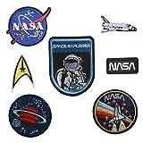 Set di 7toppe ricamate termoadesive, con disegni di astronauta, Nasa, Space Explorer, veicolo spaziale