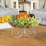 HLCUI Tischplattenfrüchtemuster-Wohnzimmer-Kaffeetisch-Retro- Speicherbonbonplatten-Trockenfrüchteschüssel,White