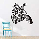 Guyuell Cool Male Motorcycle Biker Wall Stickers Black Home Decor Children Room Wall Decals Chopper Vinyl Interior Decoration