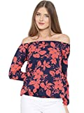 Rare Women Navy & Coral Pink Printed Crepe Off-Shoulder Top (EP1423A-S)