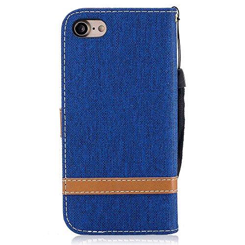 iPhone X Custodia Pelle [Protezione schermo libera], Billionn Tessuto Denim e Fodera in Pelle Cover Disegno Supporto Stand, Porta Carte e Protettiva Flip Portafoglio Case con chiusa Magnetica per iPho blu reale