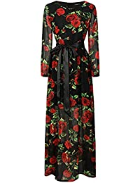 Jitong Mujer Elegante Vestido Largos de Cóctel Gasa Cuello Redondo Manga 3/4 Vintage Floral