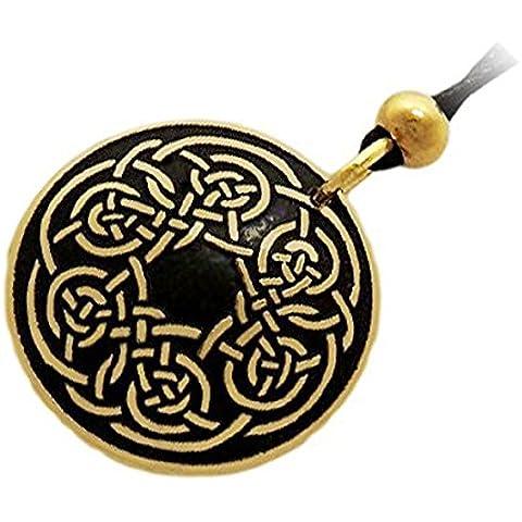 Handcrafted ottone inciso, Celtic Knot, la collana del pendente di modo rotondo, Simboleggia Never-Ending Amore