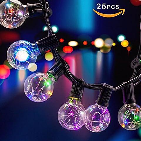 25Ft LED G40 Globus-Schnur-Licht,hängendes Innen- / im Freienschnur-Licht 25 G40 Glühbirne warmweiß für Bistro Pergola Hinterhof-Zelt-Markt-Café Gazebo Portal-Buchstaben-Parteien, ideal für die Terrasse, Café, Garten, Feste-Party-Dekoration