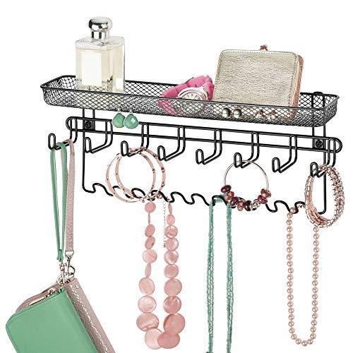 mDesign Schmuckhalter Wand - Hängeaufbewahrung für Halsketten, Ohrringe, Armbänder und andere Accessoires - praktischer Schmuck Organizer aus Metall - schwarz