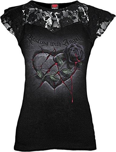 Spiral-Le donne-Riposo con angeli, pizzo a strati Top con maniche, colore: nero Black Small