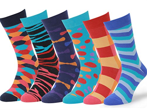 Easton Marlowe Men's 3 & 6 Pk Colorful Patterned Dress Socks, Made in Europe
