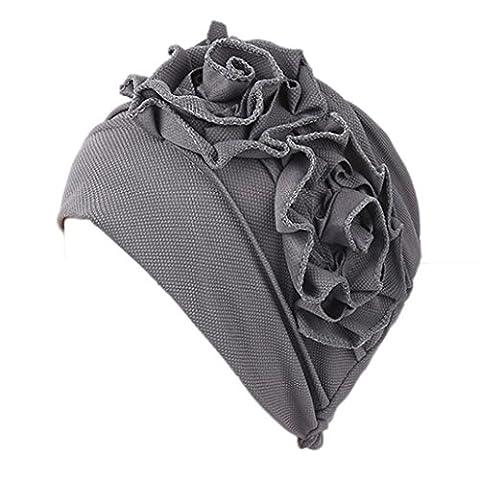Damen Muslim Rüsche Mützen, zahuihuiM Herbst Winter Polyester Kopf Wrap Cap Chemotherapie Hut Beanie Schal Turban (Grau)