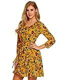 Meaneor Damen Elegant Druckkleid Mit V Ausschnitt 3/4-Arm Knielang aus Baumwolle Blumenkleid Abendkleid