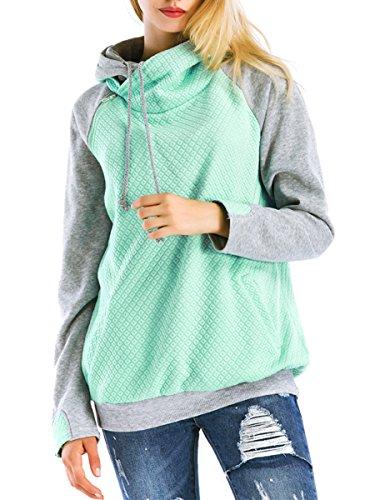 Clasichic Damen Pulli Langerarm Kaputzenpullover Hoodie Stickerei Sweatshirt Oberteil Tops (Strickjacke Valentine)