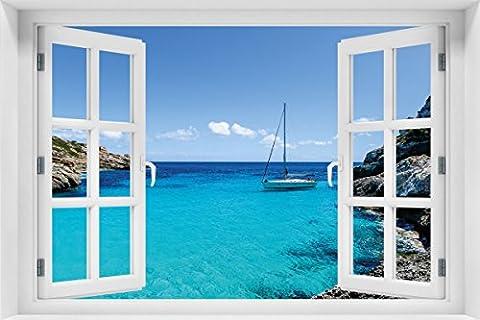 Wallario Acrylglasbild mit Fenster-Illusion: Motiv Segelboot in der Bucht - 60 x 90 cm mit Fensterrahmen in Premium-Qualität: Brillante Farben, freischwebende (Illusion Glas Schiff)