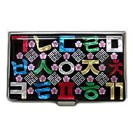Mère de perle rouge/bleu perle Alphabet Coréen Design en Métal gravé Fine en acier inoxydable Nom ID carte de crédit Business Case Étui portefeuille support Argent